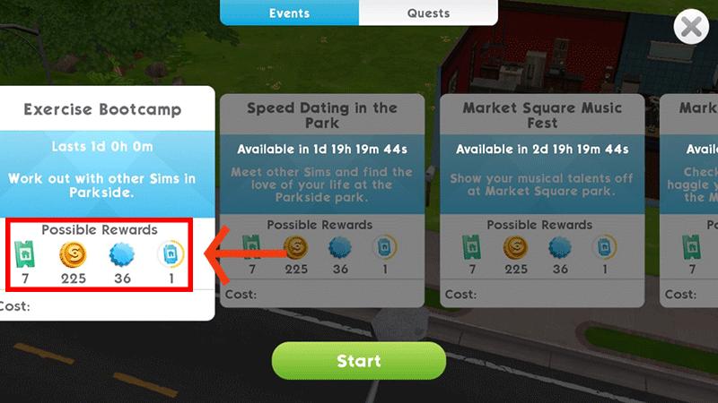 Event rewards Sims Mobile