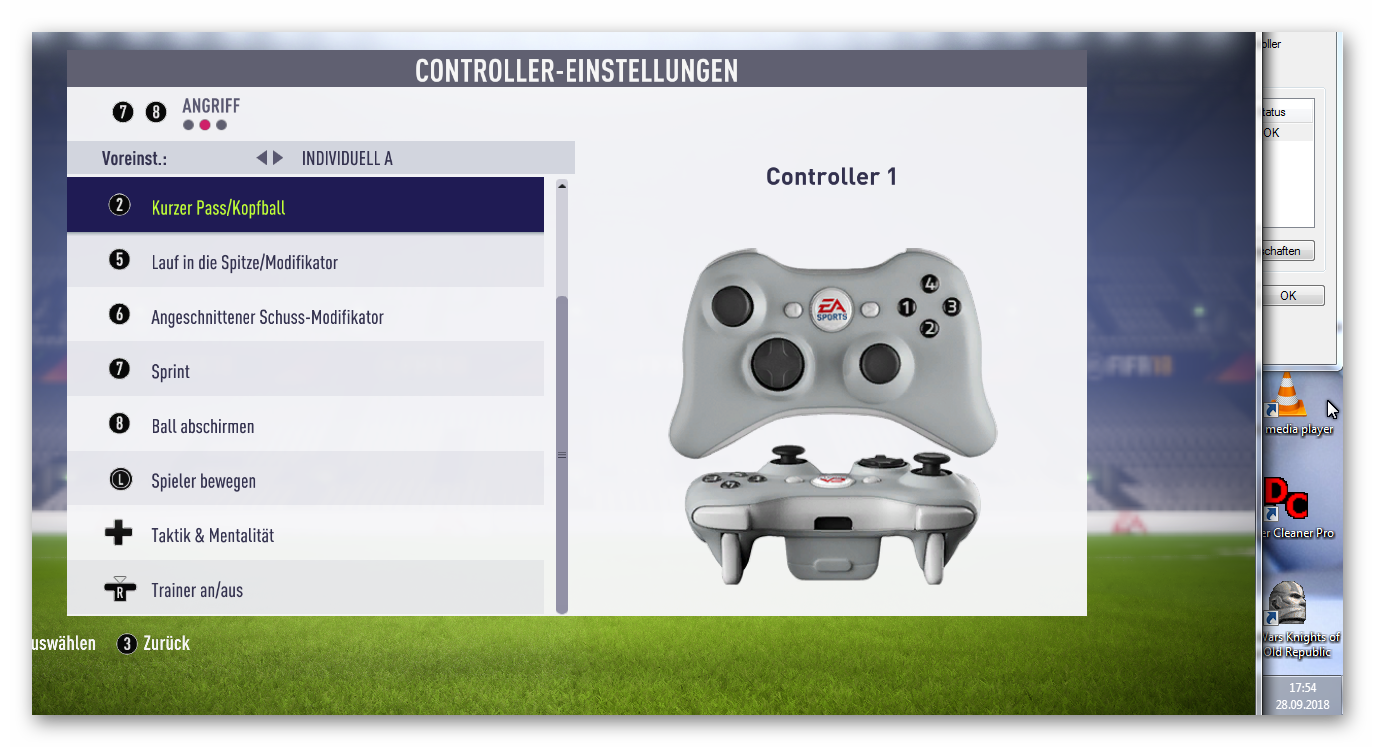 FIFA 18 Gamepad works, both Sticks