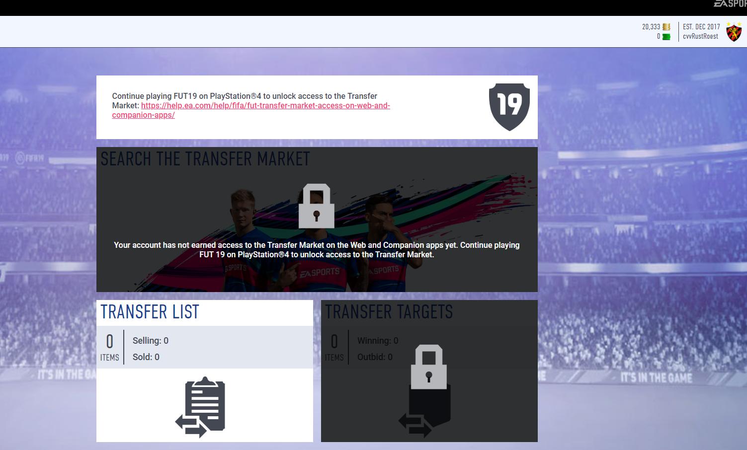 The transfer market is locked on the fifa 19 companion app