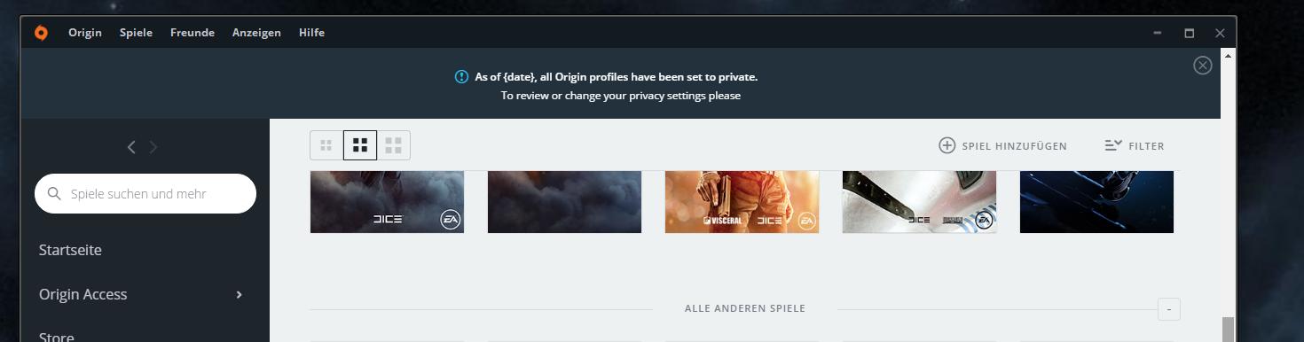 Frage origin : Nachricht profile auf privat gesetzt - Answer HQ
