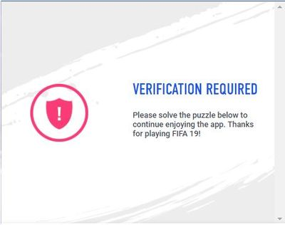 Solved: Verification puzzle is not shown in FIFA Companion App or