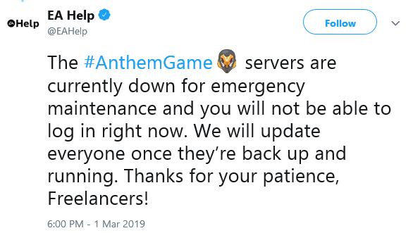 9PM EST Message from EA Help regarding Emergency Maintenance