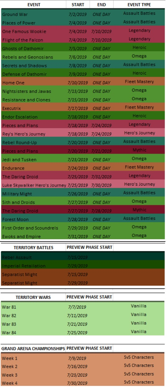 Swgoh Events Calendar.Star Wars Galaxy Of Heroes Event Calendar July Answer Hq
