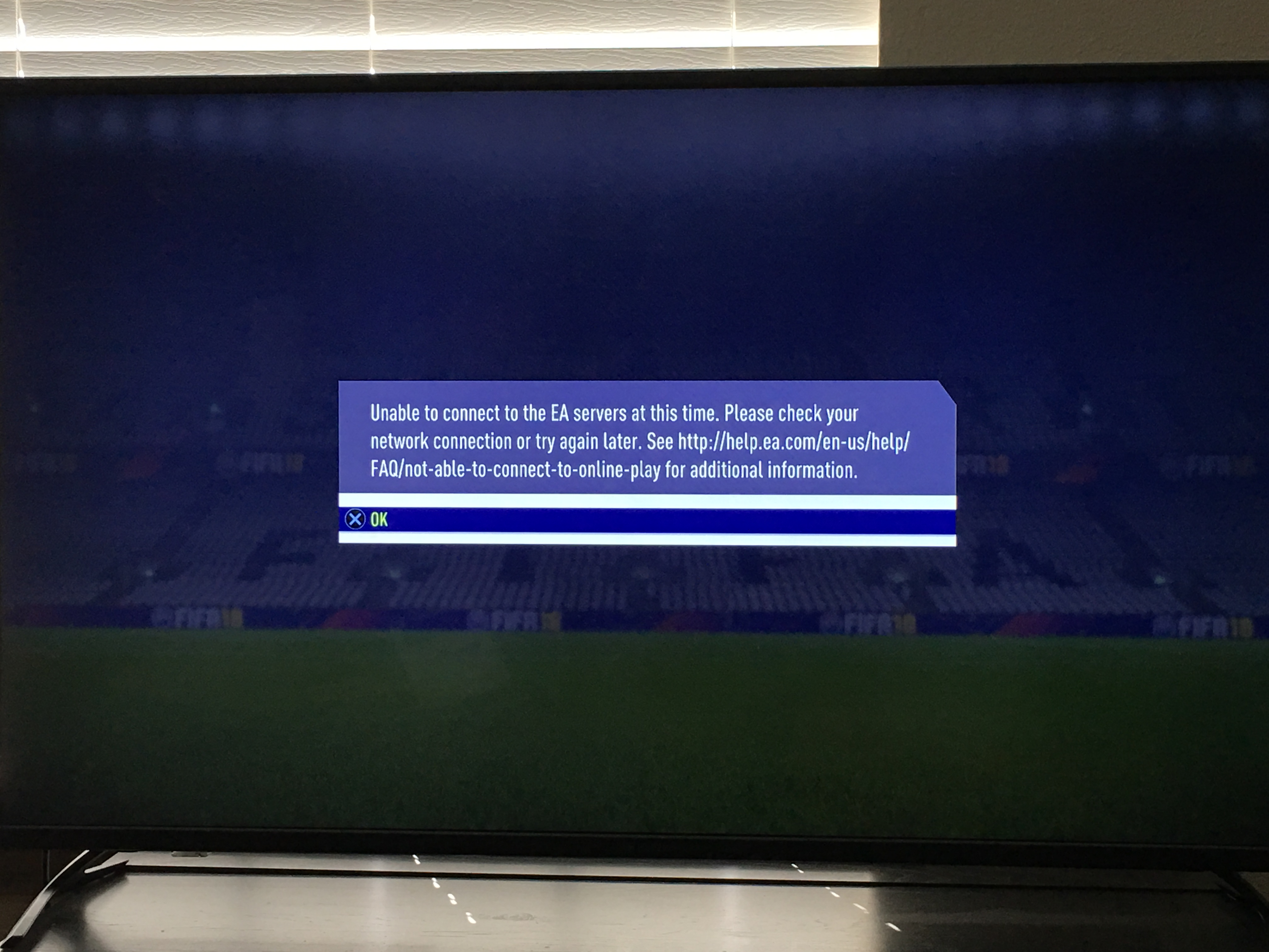 Solved: PS4 Fifa 18 - Can't connect to EA servers